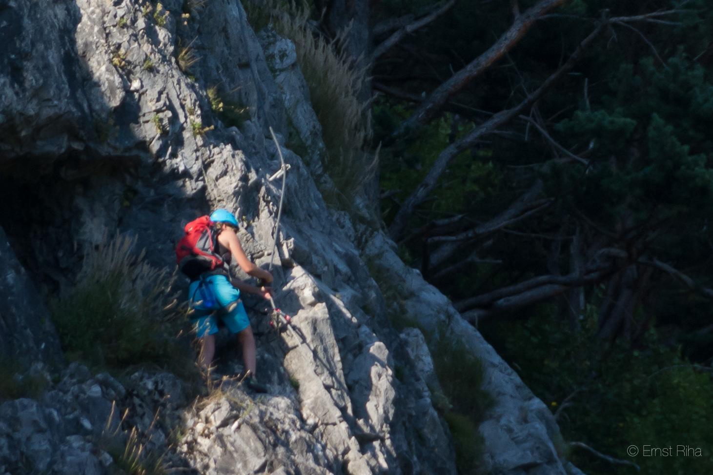 Der Klettersteig dann fein im Schatten