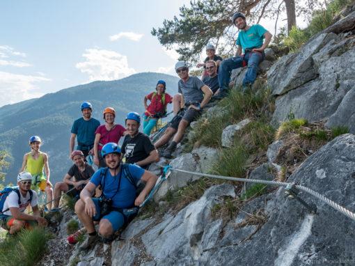 Journalisten besuchen den Leite Klettersteig